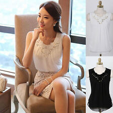 Women Lace Splicing Summer Tank Top Chiffon Sleeveless Vest Camisole Gorgeous