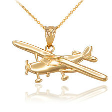 Polished Fine 14k Gold Piper Tri Pacer PA-20 Aircraft Airplane Pendant Necklace