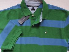 NWT Tommy Hilfiger Men's Short Sleeve Striped Polo, Blue/Green, Size: M