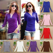 Womens Fashion Sexy V Neck Blouse Slim Casual Bottoming Shirt Long Sleeve Tops