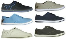 MENS NEW VOI JEANS PLIMSOLLS CANVAS SHOES FOOTWEAR IN BLACK WHITE GREY STONE