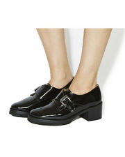 office monk buckle shoes 60s style chunky platform heel 6 mod