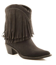Roper Womens Black Smooth Faux Leather 8in Shorty Western Fringe Boots