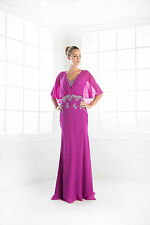 TheDressOutlet Long Mother of Bride Caplet Chiffon Evening Plus Size Formal Gown
