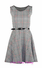 WOMENS SLEEVELESS DOG TOOTH BELTED SKATER SKIRT PLEATED TARTAN CHECK PARTY DRESS