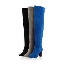 Casual Womens Block Heel Hot Faux Suede Over the knee Boots Thigh High heel Shoe