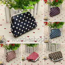Women Girls Small Wallets Cash Coin Purse Hasp Clutch Holder Polka Dot Handbag