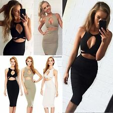 New Women Sexy Sleeveless Cut Out Bandage Bodycon Stretch Club Party Dress BF9