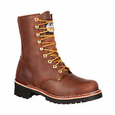 Georgia Mens Brown Leather 8in Logger Work Boots