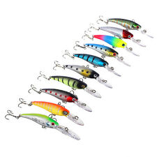 1/10Pcs Fishing Lures Kinds Of Minnow Fish Bass Tackle Hooks Baits Crankbait Lot
