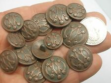 "New Military Metal Copper Finish Buttons sizes 7/8 inch, 13/16, 11/16, 5/8"" #CP1"
