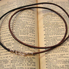 LEATHER NECKLACE VINTAGE DISTRESSED BROWN - cord 2mm - bronze clasp