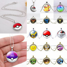 Fashion Jewelry Pokemon Pokeball Cabochon Glass Dome Chain Pendant Necklace Gift