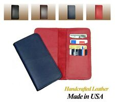 Genuine Cow Leather BiFold Checkbook Cover w/ Credit Card Pockets, Made in USA