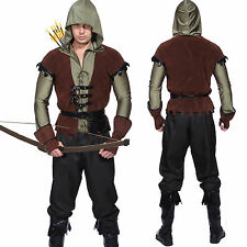 Mens Robin Hood Prince Of Thieves Green Arrow Cosplay Fancy Dress Hunter Costume