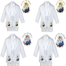 6pc Baptism White Tuxedo English Spanish Colored Silver Gold Pope Mary Stole