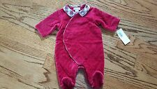 NEW Ralph Lauren girls warm Holiday Red Velour Footed Romper long sleeve