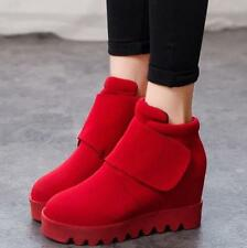 Womens Retro Faux Suede Comfort Hidden Wedge Heel Casual Ankle Boots Shoes Size