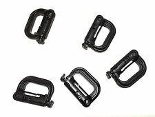 "5 x New High Quality 2"" Grimloc Carabiner Looploc D-Ring Plastic Black/OD/Tan"