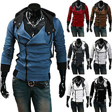 Fashion Men Side Zipper Long Sleeve Hooded Hoodie Sweater Fit Coat Jacket