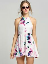 Womens Halter Neck Summer Floral Print Dress Open Back Casual Swing Beach Light