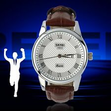 Male 9058 Skmei Man Waterproof Boutique Quartz Watch Leather Strap Big Size JK~