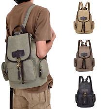 Unisex Vintage Army Canvas Backpack Rucksack School Satchel Travel Hiking Bag
