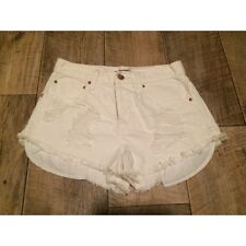 Forever 21 White Cream Ripped Denim Shorts