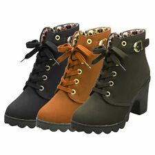 Girl Women High Top Heel Lace Up Buckle Ankle Boots Winter Pumps Suede Shoes I5