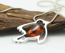 NATURAL BALTIC AMBER STERLING SILVER 925 PENDANT Bird & CHAIN NECKLACE Certified