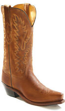 Old West Tan Canyon Womens All Leather 12in Snip Toe Cowboy Western Boots