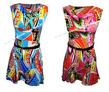 W42 NEW LADIES SLEEVELESS SKATER TAILORED BELTED DRESS WOMENS PARTY TOP IN 8-14