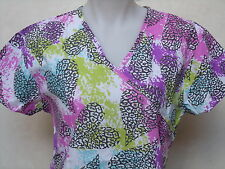 XS S M L XL WHITE BLACK PINK PURPLE  GREEN BLUE HEART ANIMAL PRINT SCRUB TOP