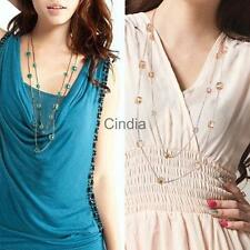 Double layer Sweater Necklaces For Women Cubic Crystal Beads Necklaces & Pendant