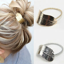 Lady 2Pcs Elastic Rope Ponytail Women Hair Band Holder Accessories Headband Leaf