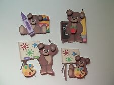 3D-U Pick - School Bear Easel Paint Crayon Scrapbook Card Embellishment 1009