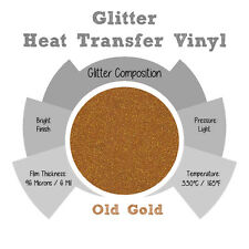 """Glitter IRON-ON Heat Transfer Vinyl 20"""" x 12"""" 1,3,5 and 10Yd *OLD GOLD*"""