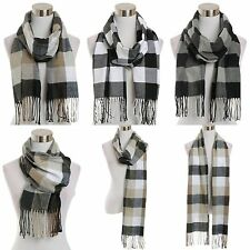 Scarf Checkered Plaid Stripes Squares Checks Oblong Fringe Ends Cute Style Chic
