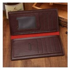 Men's Silm Bifold Leather Clutch Wallet ID Card Holder Long Purse Checkbook