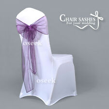 New Purple Sheer Organza Chair Sashes Bows Wedding Party Banquet DIY Decoration