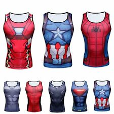 Superhero Men's Compression Tank Top T Shirts Sports Fitness Vest Cycling Jersey