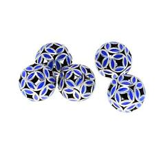 5pcs Blue Cloisonne 10mm 12mm Beads Silver Plated Copper Round Beads