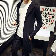 Casual Mens cardigan Mid Hooded long jacket Trench Coat Slim Fit Outwear SZ 5XL