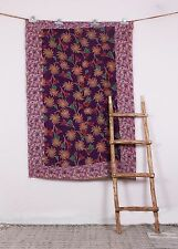 Fine Kantha Indian Floral Quilt Vintage Bedspread Throw Cotton Blanket Gudri