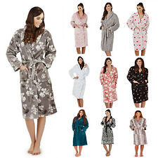 New Luxury Designer Ladies Soft Long Full Length Fleece Bath Robe Dressing Gown