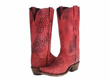 Lucchese N9635 S53 Womens Red Black Cheetah Print Leather Western Cowboy Boots