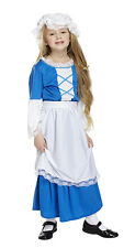 GIRLS TUDOR COSTUME LONG BLUE FANCY DRESS MEDIEVAL MAID OUTFIT NEW 3PC AGE 4-12