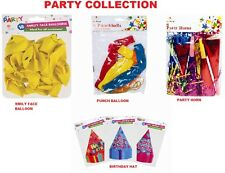 PARTY ITEM Party Horns ,Happy Birthday HAT,Smiley Face Balloons & PUNCH BALLOON