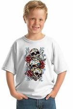Sugar Skulls Red Roses YOUTH T SHIRT Halloween Day of Dead Gift for Kids Shirt