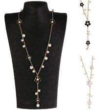 White Black Korean Flowers Faux Pearl Long Pendant Necklace Dangle Sweater Chain